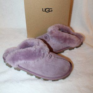 UGG NEW COQUETTE SHEARLING SLIDE SLIPPERS PURPLE